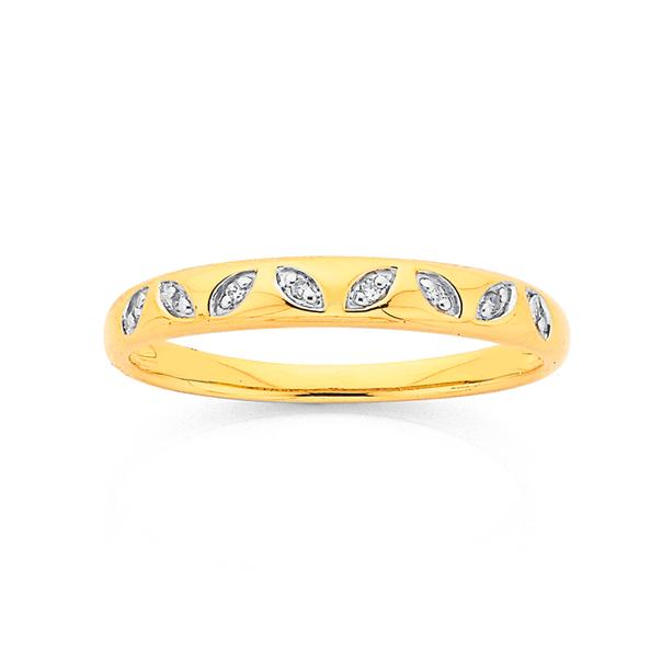 9ct Diamond Set Leaf Ring