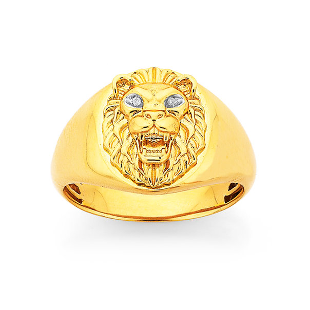 9ct Diamond Set Lion Head Gents Ring
