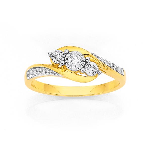 9ct Diamond Set Ring TDW=.20ct