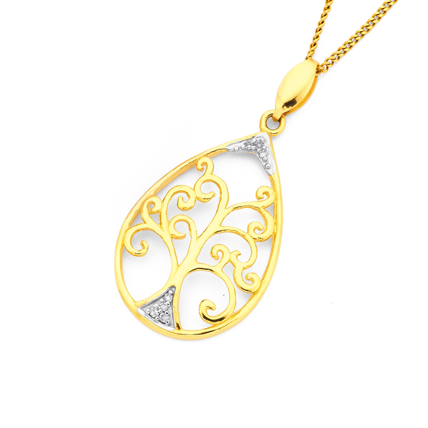9ct, Diamond Set Tree of Life Pendant