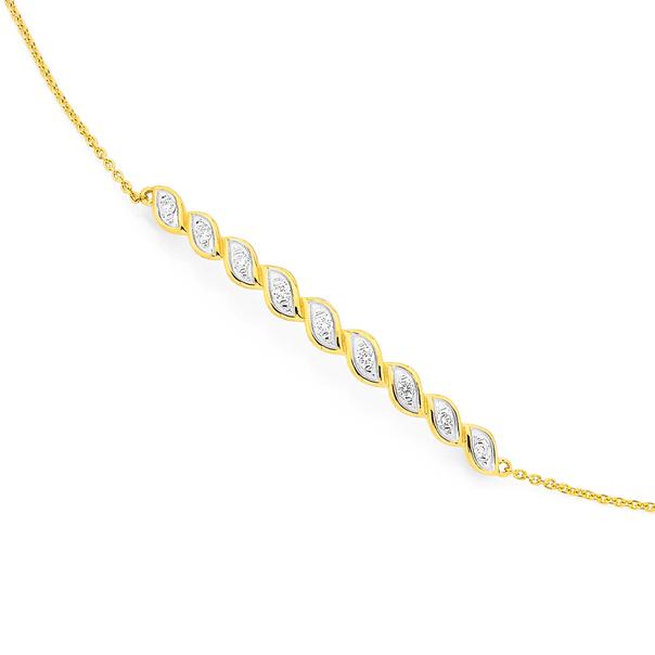 9ct Diamond Set Twist Bracelet TDW=.10ct