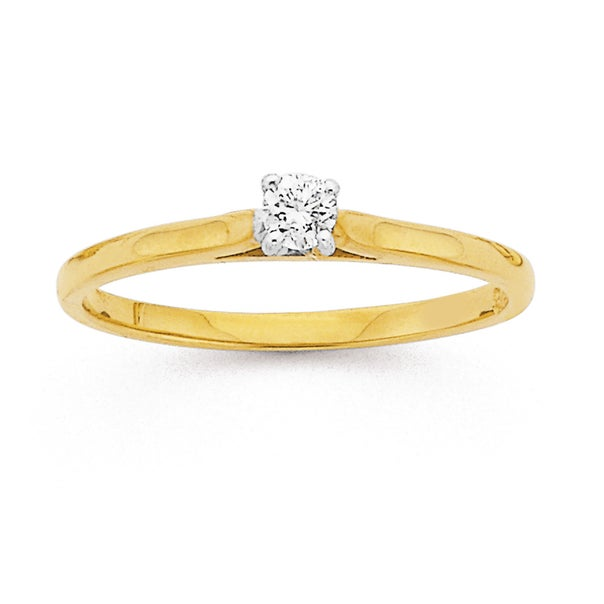 9ct, Diamond Solitaire Ring