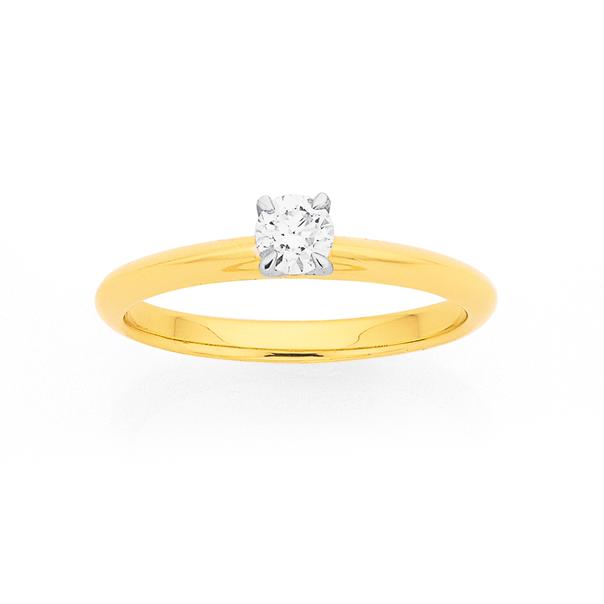 9ct Diamond Solitaire Ring TDW=.25ct
