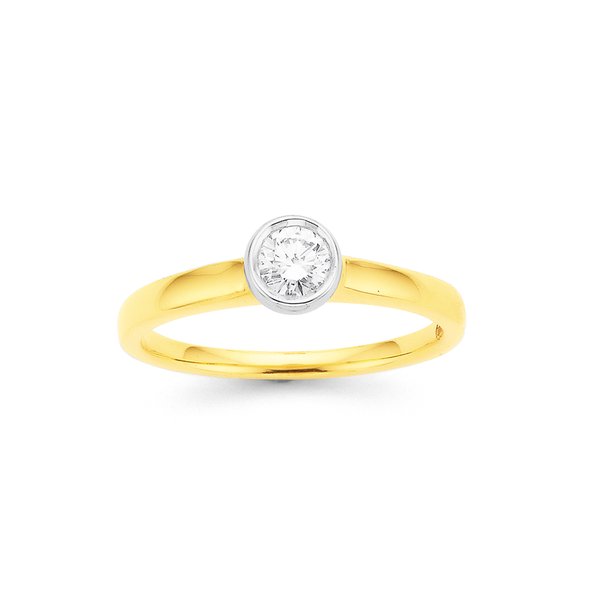 9ct Diamond Solitaire Rubover Ring TDW=.30ct