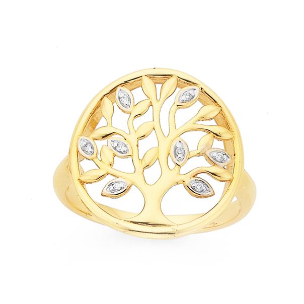9ct  Diamond Tree of Life Ring