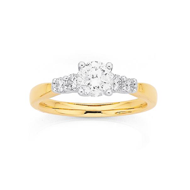 9ct Five Stone Diamond Ring TDW=1ct
