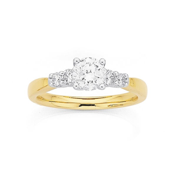 9ct Five Stone Diamond Ring TDW=1ct