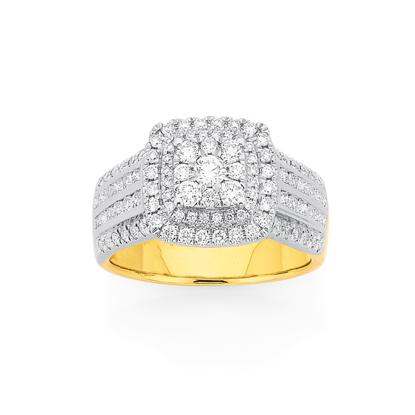 9ct Four Row Diamond Cluster Ring TDW=1ct