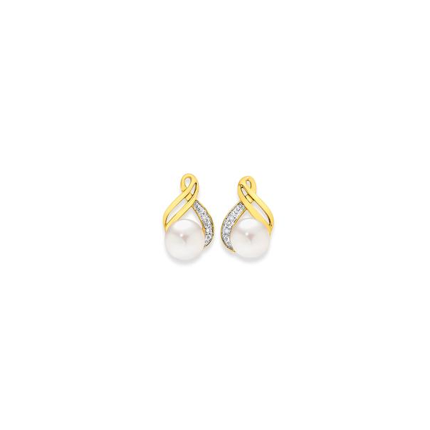 9ct Freshwater Pearl & Diamond Earrings