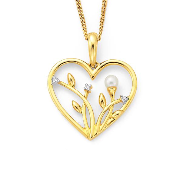 9ct Freshwater Pearl & Diamond Flower Pendant