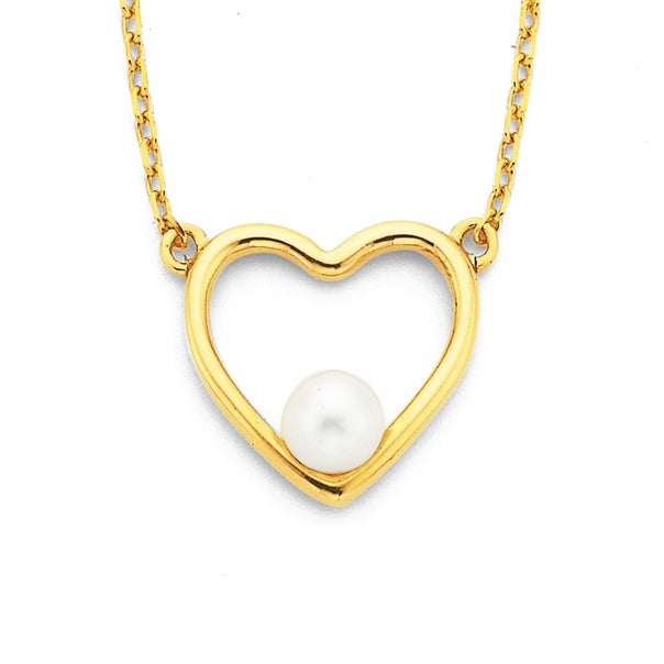 9ct Freshwater Pearl Heart Necklet
