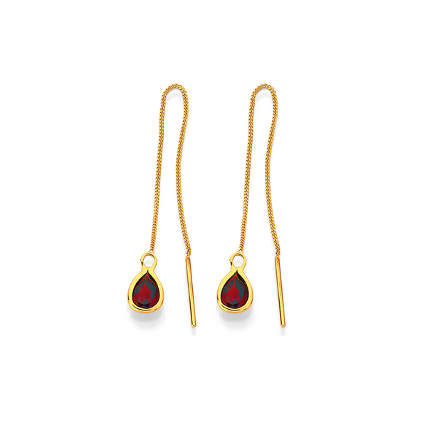 9ct Garnet Thread Earrings
