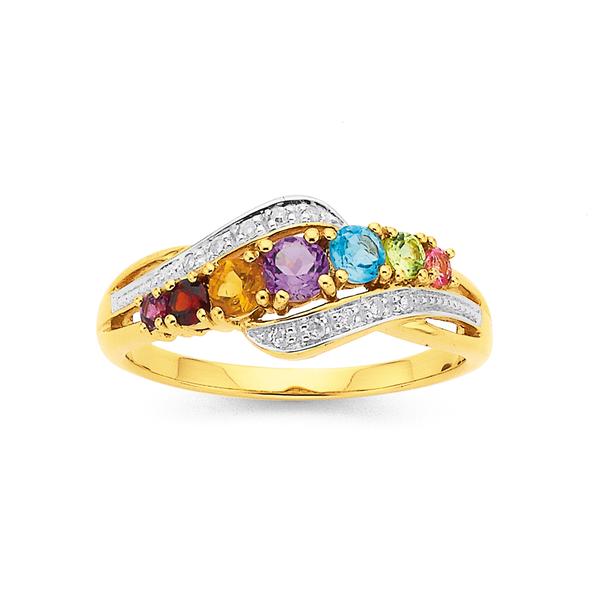 9ct Gemstone & Diamond Ring
