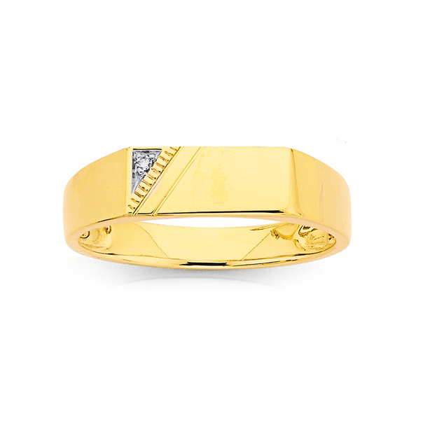 9ct Gents Diamond Ring (Size U)