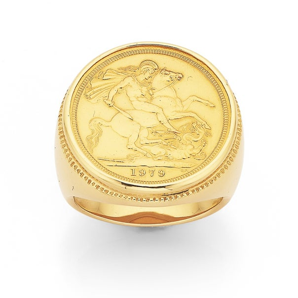 9ct Gents Ring with 22ct Full Sovereign Coin
