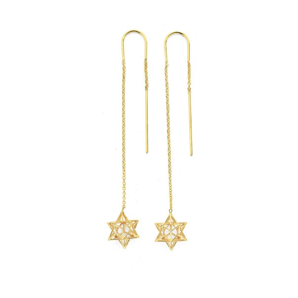 9ct Geometric 3D Star Thread Earrings with Elbow