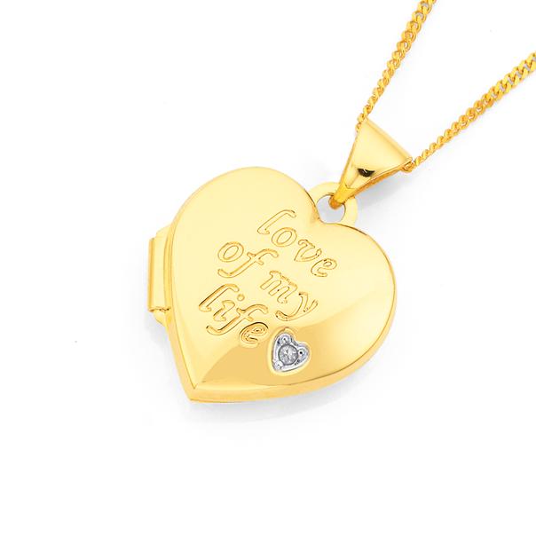 9ct Gold 15mm Diamond-set Heart Locket