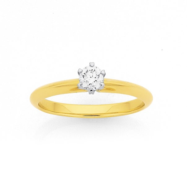 9ct, .25ct Diamond Solitaire Knife Edge Ring