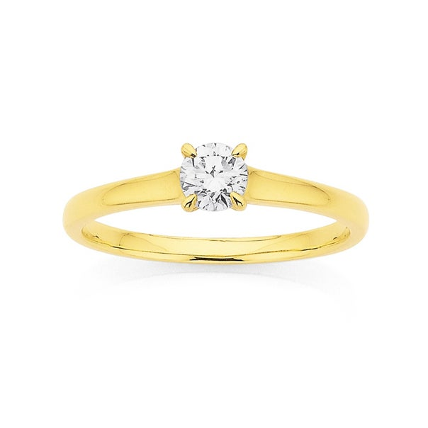9ct Gold .35ct Diamond Solitaire Ring