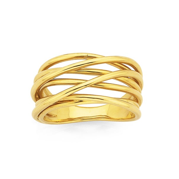 9ct 7 Bands Crossover Ring