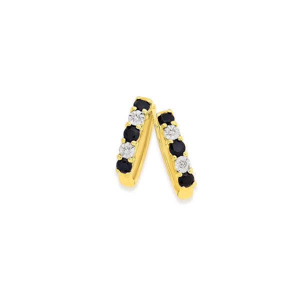 9ct Gold Black Sapphire & Diamond Huggie Earrings