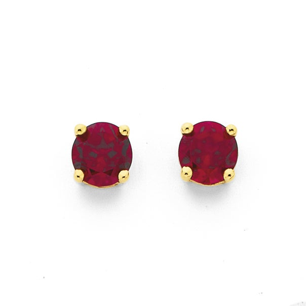 9ct Gold, Created Ruby Stud Earrings