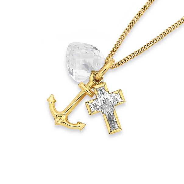 9ct Cubic Zirconia Faith Hope & Charity Pendant