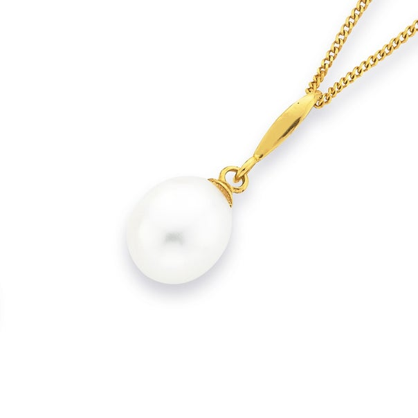 Freshwater Pearl Pendant in 9ct Yellow Gold
