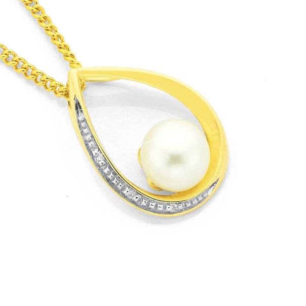 9ct Gold Cultured Freshwater Pearl Pendant