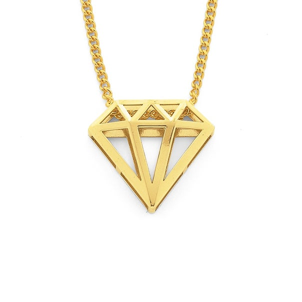 3D Diamond Shaped Pendant in 9ct Yellow Gold