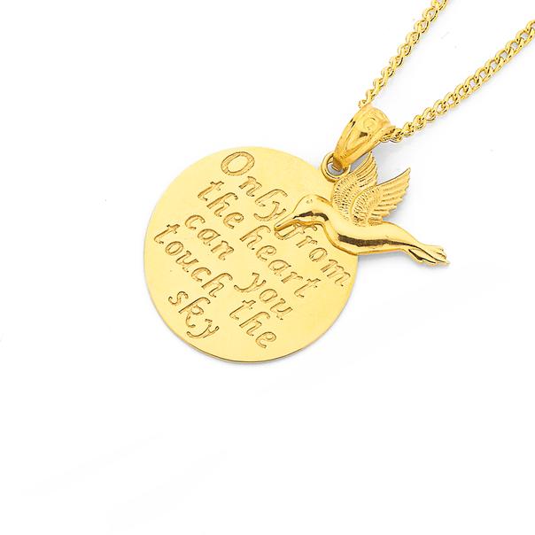 9ct Gold Hummingbird Message Disc Pendant