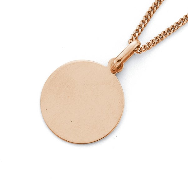 Engravable Disc Pendant in 9ct Rose Gold