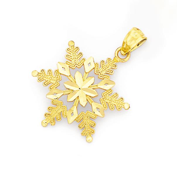 9ct Gold Snowflake Pendant