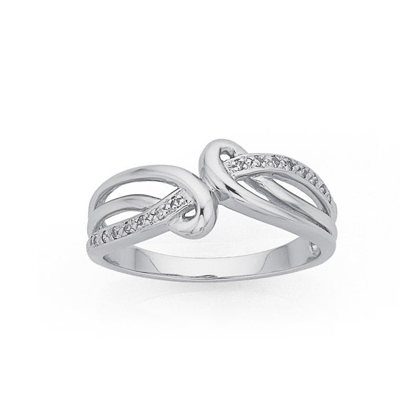 9ct White Gold Diamond Loops Swirl Ring