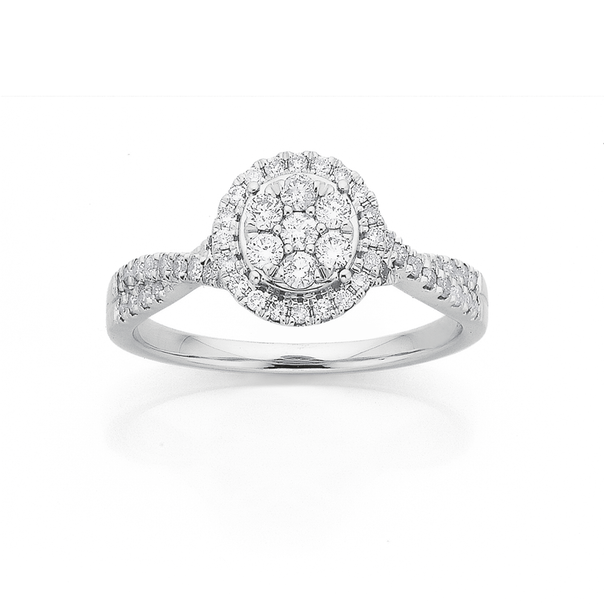 9ct Gold White Gold Round Cluster Diamond Ring TDW=.50ct