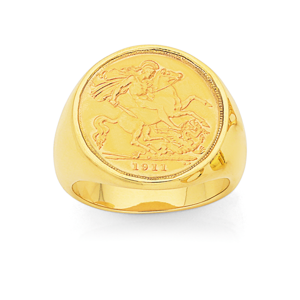 9ct Half 22ct Sovereign Gents Ring