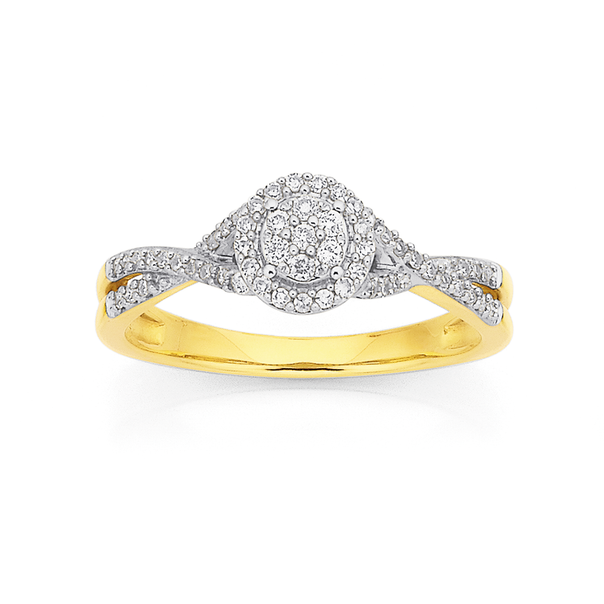 9ct Halo Diamond Cluster Ring TDW=.25ct