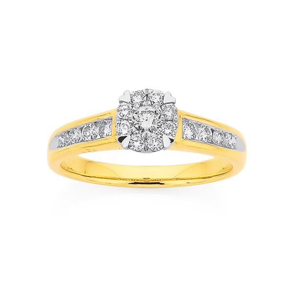 9ct Heart Claw Diamond Ring TDW=.50ct