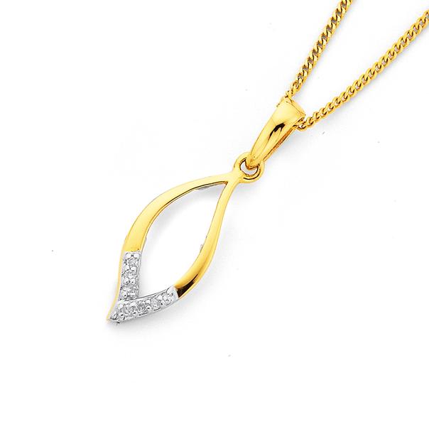9ct Leaf Shape Diamond Pendant