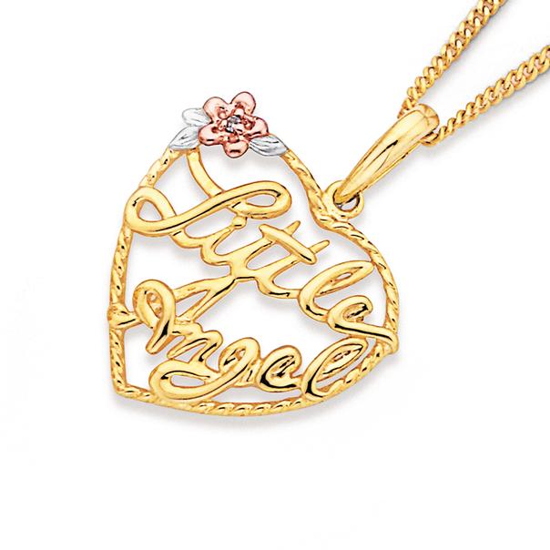 9ct 'Little Angel' Heart Pendant