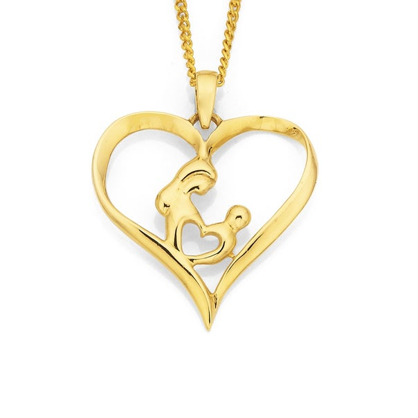 9ct Mother & Child Heart Pendant