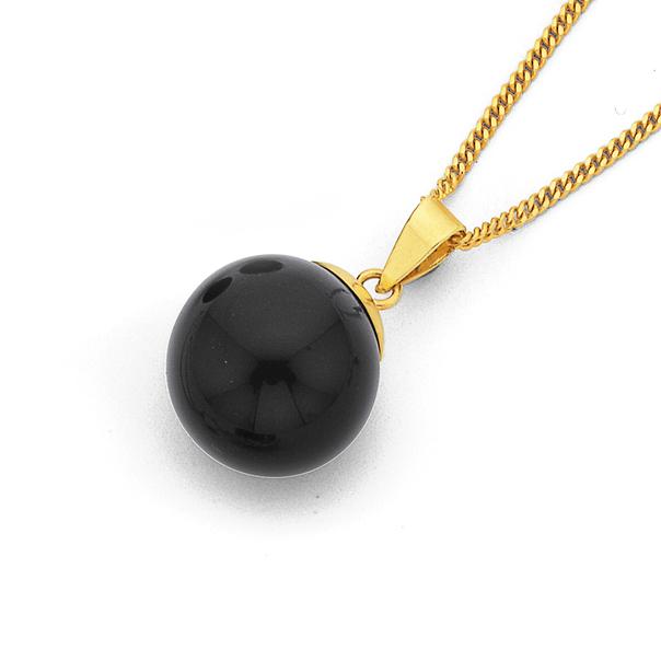 9ct Onyx Ball Pendant