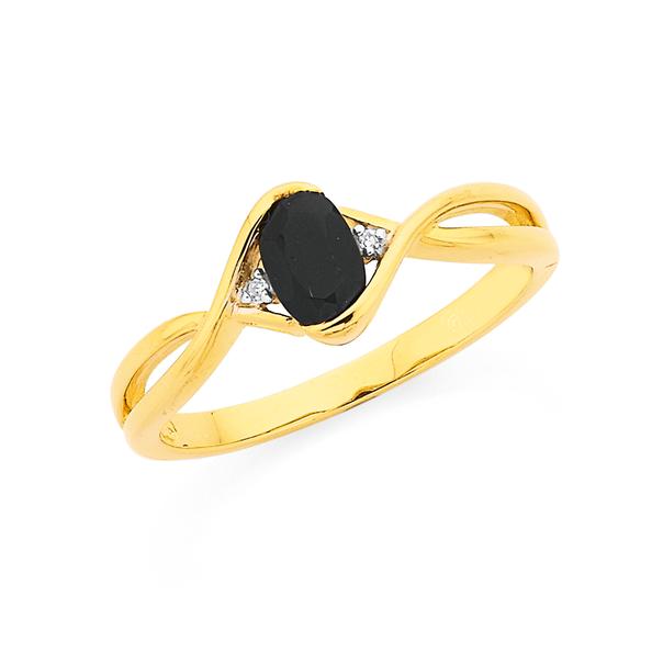 9ct Onyx Twist With Diamond Ring