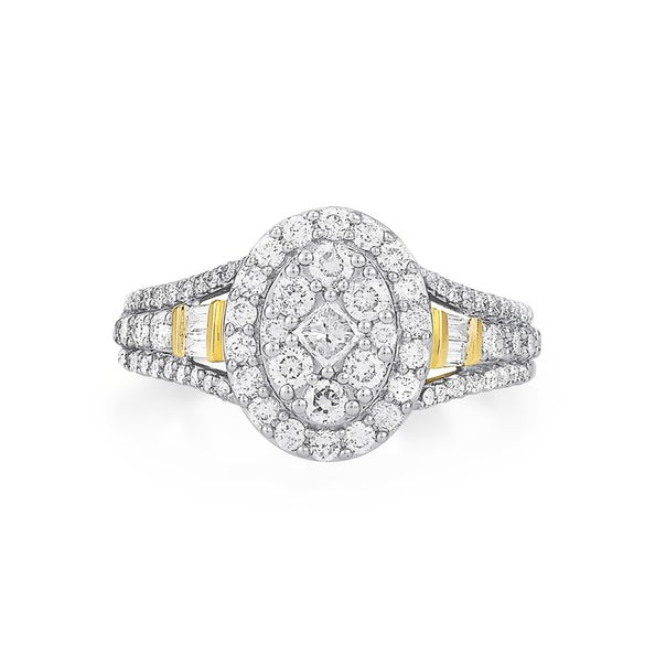 9ct Oval Cluster Diamond Ring TDW=1ct