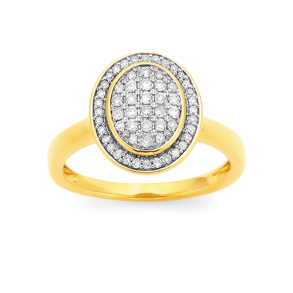 9ct Pave Set Halo Oval Ring TDW=.36ct