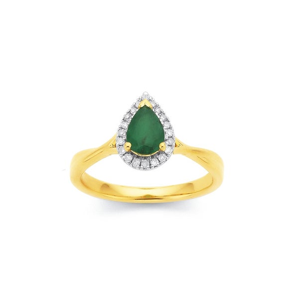 9ct Pear Shape Emerald and Diamond Ring