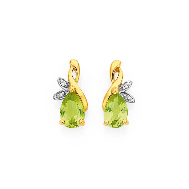 9ct Peridot & Diamond Earrings