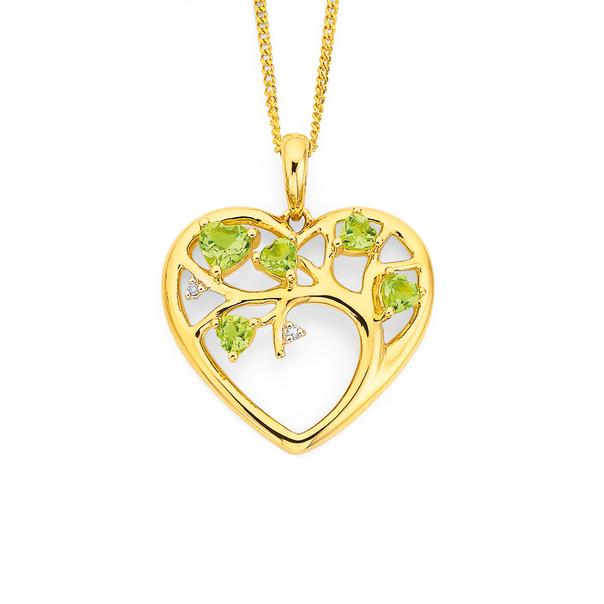 9ct Peridot & Diamond Heart Pendant