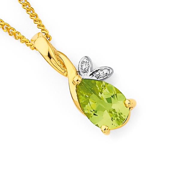 9ct Peridot & Diamond Pendant