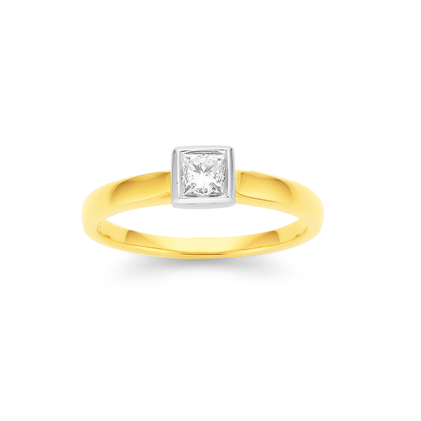 9ct Princess Cut Diamond Solitaire Rubover Ring TDW=.30ct